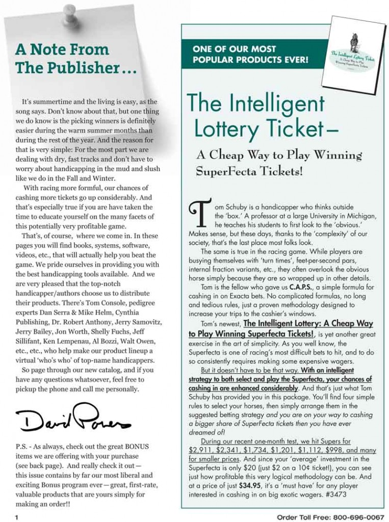 The intelligent Lottery Ticket – a cheap Way to play winning SuperFecta tickets