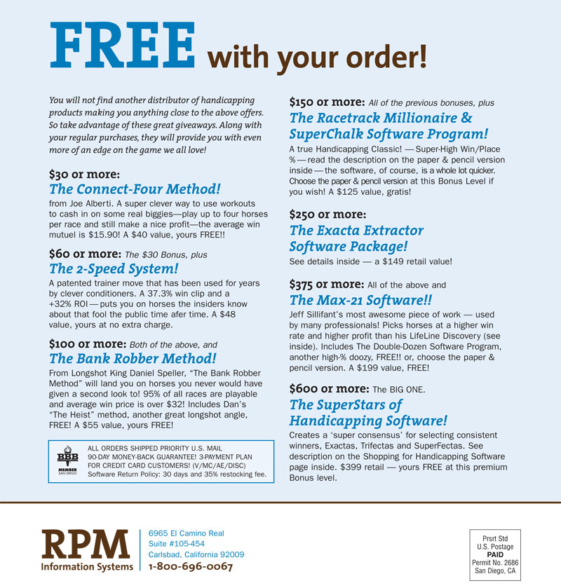 free with your order on RPM Handicapping Products