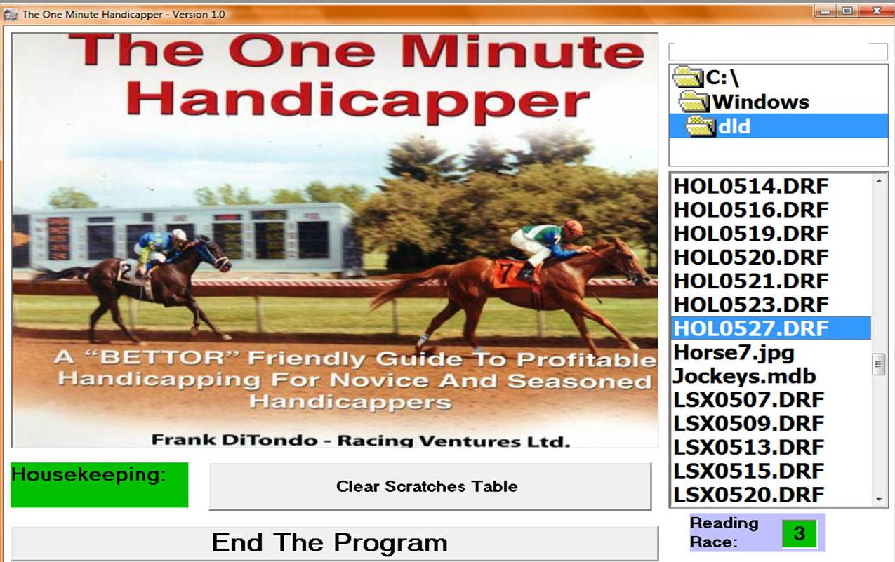 The one minute handicapper software if you are ordering the software great but if want a complete understanding of just how this software performs plus all of the other handicapping falaconquin