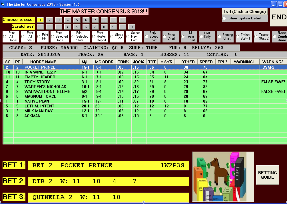 Quinella betting strategies when counting total sport betting