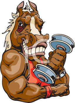 0511-1103-1822-4018_Horse_Lifting_a_Barbell_Weight_clipart_image