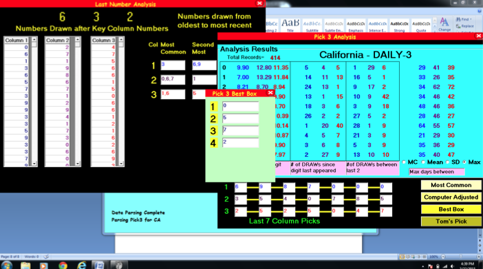 Tom Console's Pick 3 LOTTO Software! Making 'Cents